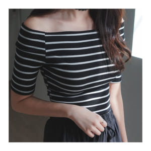 Striped off-shoulder