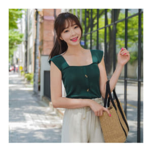 Knit square neck top